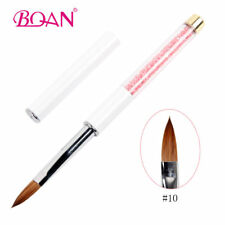1PC Kolinsky Hair Acrylic Nail Brush Pink Rhinestone Handle Nail Art Tool #10