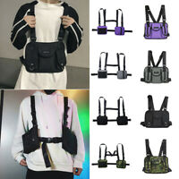 Tactical Harness Chest Rig Bag Mens Hip-Hop Oxford Two Pockets Fanny Pack Purse