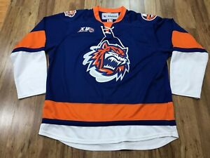 MENS XL - Vtg AHL Bridgeport Sound Tigers Reebok Glued On Hockey Jersey Canada