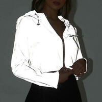 Fashion Women Reflective Jacket Casual Sport Hood Short Coat Crop Outwear Tops