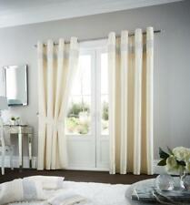 Luxury Oxy Curtain Ring Top Faux Silk Fully Lined Eyelet Pair of Curtains