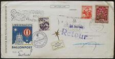 s1005) Österreich 1. Weihnachts-Ballonpost Christkindl 3.12.1961 Retour 18.12.61