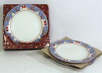 Vtg Sakura 1997 SNOWMAN by Debbie Mumm Set of 4 Dinner Plates In Original Box