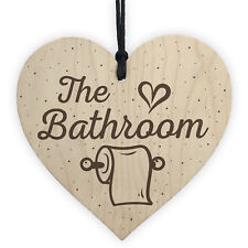 The Bathroom Shabby Chic Handmade Wooden Heart Sign For Toilet Bathroom Loo