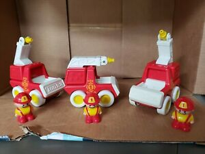 Vintage 90's Tonka Fisher Price Little People Fireman Crew and 3 Fire Trucks