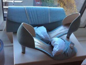 Jaques Vert Shoes Size 5 And Handbag Ideal Wedding Brand New Duck Egg Blue