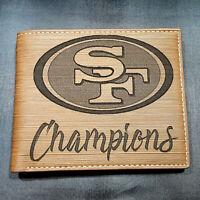 San Francisco 49ers Champions Men's Wallet Laser Engraved Football 49er Gift