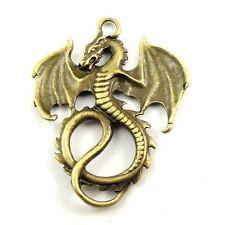31079 Antique Style Bronze Tone Alloy Ancient Dragon Pendant Finding 8pcs