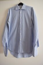 Homme T.M. Lewin bleu/blanc rayé à manches longues Chemise en coton taille 16