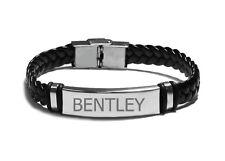 Name Bracelet BENTLEY- Mens Leather Braided Engraved Bracelet - Christmas