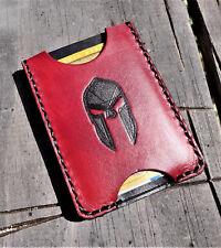 Handmade MINUS Minimalist Leather Wallet Heathen Black Red Spartan