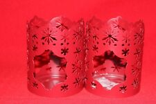 Partylite Red Metal Snowflakes Tealight/Votive Candle Holders
