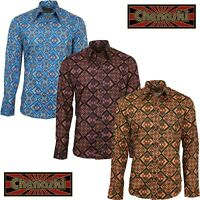 Chenaski Mens Psychedelic Rhombus 70s Shirt Hippy Disco Pop Art Funky