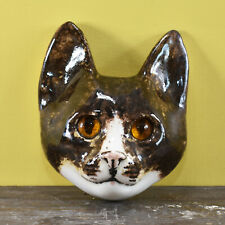 More details for a vintage kitsch winstanley size 2 ceramic brown cat head wall plaque glass eyes