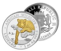 Silbermünze Somalia,  Leopard, 1 Unze, 2020 Stempelglanz, vergoldet