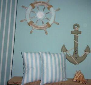 Cushion Covers 100% Cotton - Duck Egg Blue Seaside Stripe Original Hand Crafted