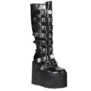 Demonia Womens Swing-815 Platform Boots Black Vegan Gothic Punk Goth Wedge
