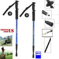 Hiking Sticks Trekking Poles Walking Collapsible Men Women Camping Folding Red