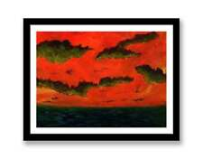 Sunset over sea-Impressionist art Acrylic painting unique gift (Print) ID : 1574