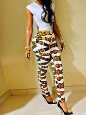 Sexy Women Sleeveless White T-shirt Match Print Set Pant Pencil Trousers Legging