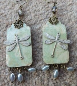 Dragonfly earrings mixed media green wood hand made pearls