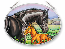 "Horses Sun Catcher AMIA Hand Painted Glass 7"" x 5"" Oval New Mother Baby Grass"