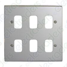 Deta G3425CH 'Slimline Decor' Grid Switch Cover Plate - Polished Chrome 6 Gang