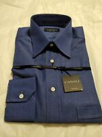 NWT Deep Blue Canali Dress Shirt Made In Italy 15/39