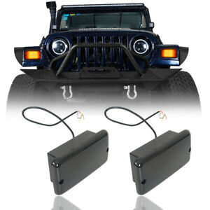 Pair Smoked/White LED High Power Turn Signal w/Wiring Fit Jeep Wrangler TJ 97-06