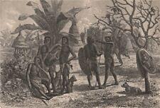 Group of Niam-Niams (Azande) & their dwellings. Congo. Congo Basin 1885 print