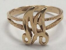 """VINTAGE 14K Yellow Gold """"M"""" Initial RING Size 5.25"""