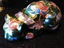 Vintage Cat Figurine Porcelain Hand Painted Floral Paint Classic Tradition Decor