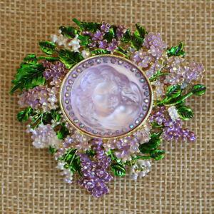 Kirks Folly Lilac Goddess Dream Angel Pin Pendant Goldtone Purple Lavender Green