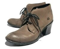 BORN Women's Sz 8.5 Lace Up Suede Boots Booties Chunky Heel Brown