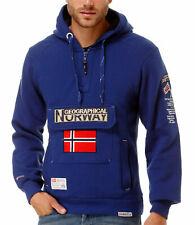 Geographical Norway Gymclass Pullover Uomo Felpa con cappuccio Blu Wj089h XL