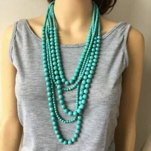 Natural Stone Necklace Turquoise Bead Necklace Summer Cool Stone Beads BoHo