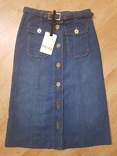 REISS Long Denim Button Through Skirt UK size 4/6