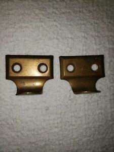 Pair (2) Vintage Brass Plated Window Sash Pulls Metal Finger Pull Hardware