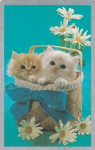 Vintage Swap Playing Card, Cat, Two Little Fluffy Kittens in a basket, blue bow