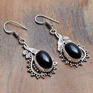 "Black Onyx Handmade Drop Dangle Earrings Jewelry 1.8"" AE 36444"