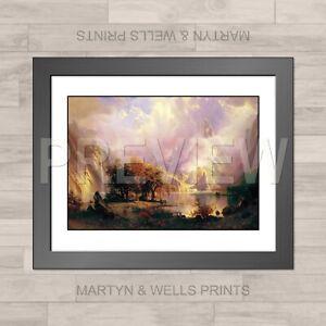Albert Bierstadt framed print: Rocky Mountains. 400x325mm. Textured canvas paper