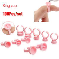 100pc Disposable Eyelash Grafted Pallet Glue Holder Tattoo Ink Pigment Cup Ring