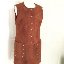 Vintage Jumper Dress Mod S M Women Suede Sleeveless Burnt Orange 60s Short