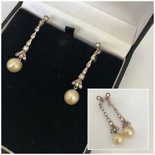 Vintage Antique Jewellery Silver Paste Set Pearl Drop Screw Back Earrings