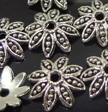 20 Antique Silver Pewter Flower Bead Caps 14mm