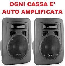 COPPIA CASSE AMPLIFICATE ATTIVE 400w IN ABS full-range KARAOKE DJ MONITOR SPIA
