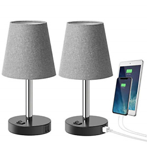 Tomons USB Table Lamp with 2 USB Charging Ports, Modern Minimalist Bedside Lamp