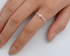 USA Seller Tiny Sideway Cross Ring Sterling Silver 925 Best Deal Jewelry Size 11