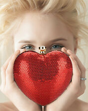 Stunning Red Sequin Heart Clutch Bag Prom Evening Wedding Valentine Gift Small
