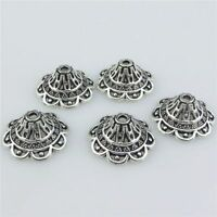 21417 40pcs Vintage Silver Alloy 18mm Flower Spacer Beads Cap Tassel End Jewelry